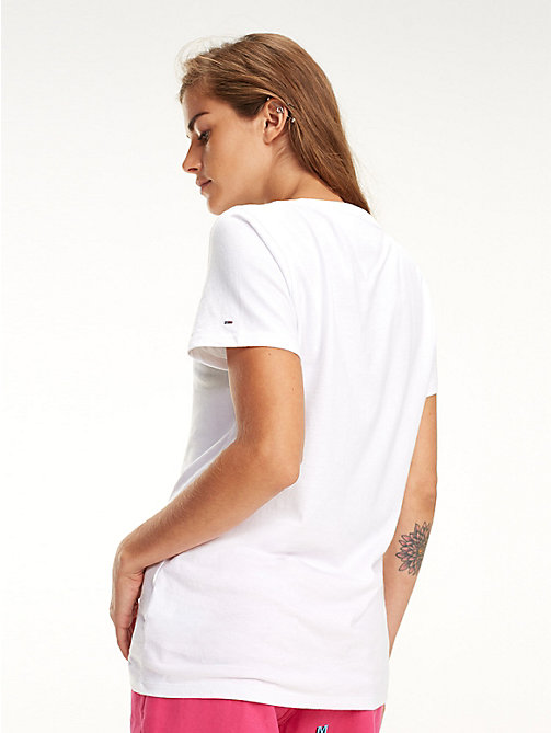 TOMMY JEANS Organic Cotton Multicolour Logo T-Shirt - CLASSIC WHITE - TOMMY JEANS Tops - detail image 1