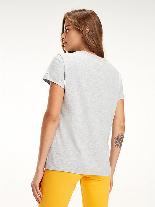 TOMMY JEANS T-shirt met colour-blocked signature-logo - LT GREY HTR - TOMMY JEANS Tops - detail image 1