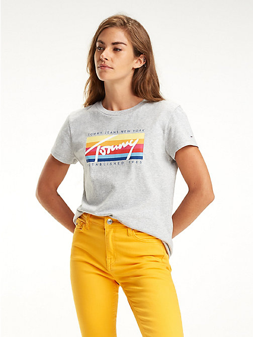 TOMMY JEANS T-shirt colour-block à logo signature - LT GREY HTR - TOMMY JEANS Tops - image principale
