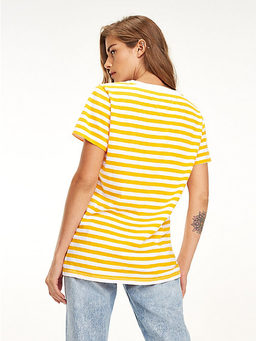 TOMMY JEANS Organic Cotton Stripe T-Shirt - RADIANT YELLOW / CLASSIC WHITE - TOMMY JEANS Tops - detail image 1