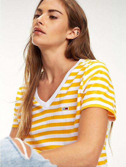 TOMMY JEANS Organic Cotton Stripe T-Shirt - RADIANT YELLOW / CLASSIC WHITE - TOMMY JEANS Tops - main image