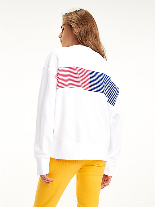 TOMMY JEANS Cotton Graphic Logo Sweatshirt - CLASSIC WHITE - TOMMY JEANS Sweatshirts & Hoodies - detail image 1