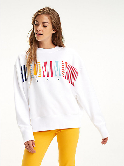 TOMMY JEANS Cotton Graphic Logo Sweatshirt - CLASSIC WHITE - TOMMY JEANS Sweatshirts & Hoodies - main image