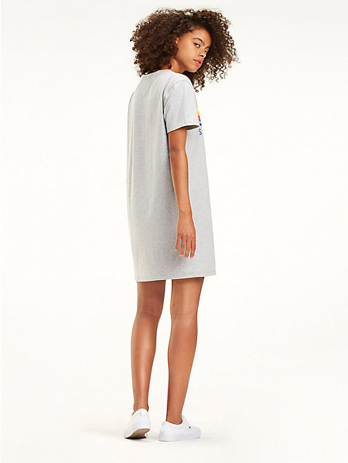 TOMMY JEANS Pure Cotton Logo T-Shirt Dress - LT GREY HTR - TOMMY JEANS Mini - detail image 1