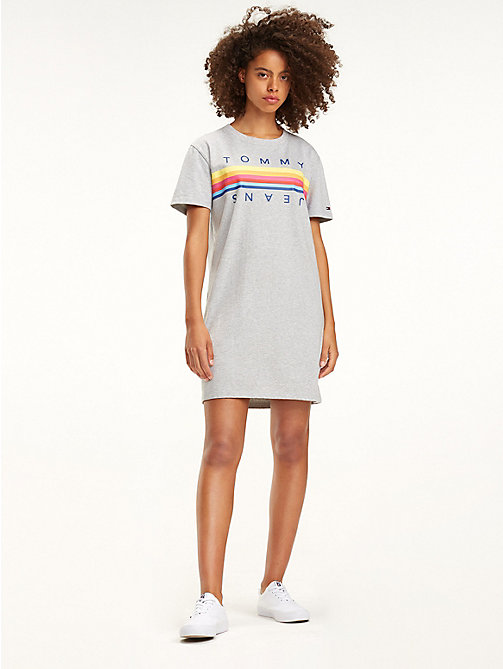 TOMMY JEANS Pure Cotton Logo T-Shirt Dress - LT GREY HTR - TOMMY JEANS Mini - main image