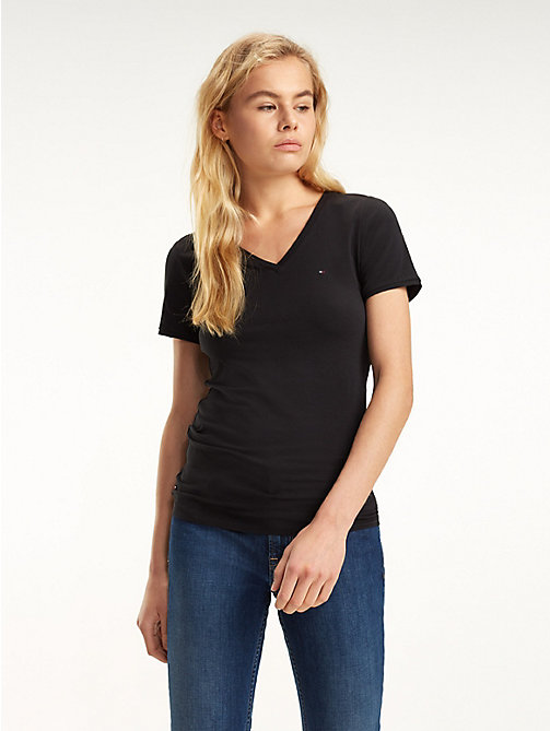 TOMMY JEANS Fitted V-Neck T-Shirt - TOMMY BLACK - TOMMY JEANS Tops - main image
