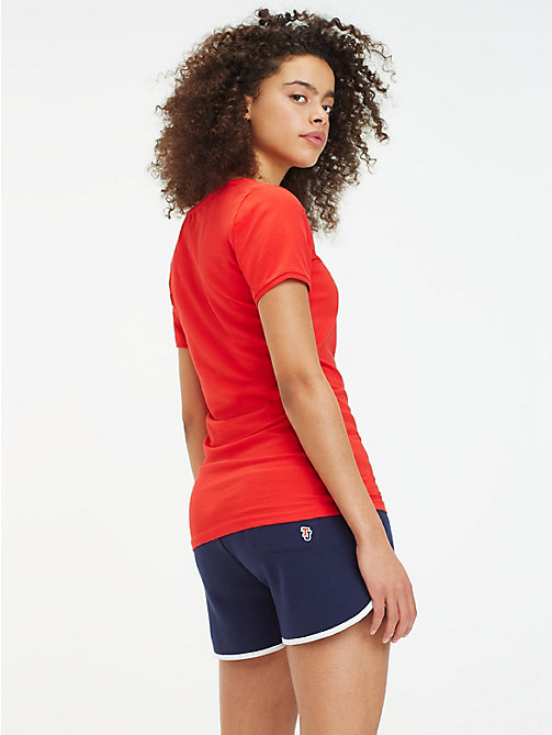 TOMMY JEANS Fitted V-Neck T-Shirt - FLAME SCARLET - TOMMY JEANS Tops - detail image 1