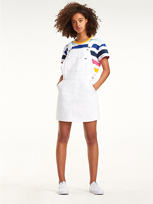 TOMMY JEANS Pure Cotton Dungaree Dress - OPTICAL WHITE RIG - TOMMY JEANS Dresses - main image