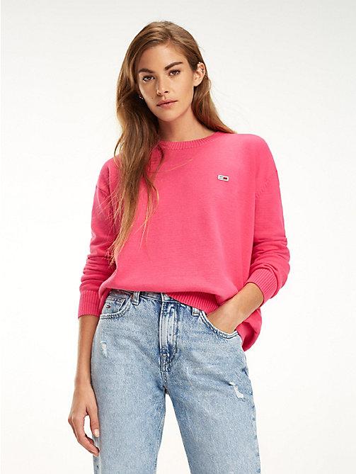 TOMMY JEANS Pull Tommy Classics col ras-du-cou - FUCHSIA PURPLE - TOMMY JEANS Sustainable Evolution - image principale