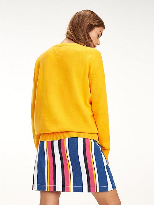 TOMMY JEANS Pull Tommy Classics col ras-du-cou - RADIANT YELLOW - TOMMY JEANS Sustainable Evolution - image détaillée 1