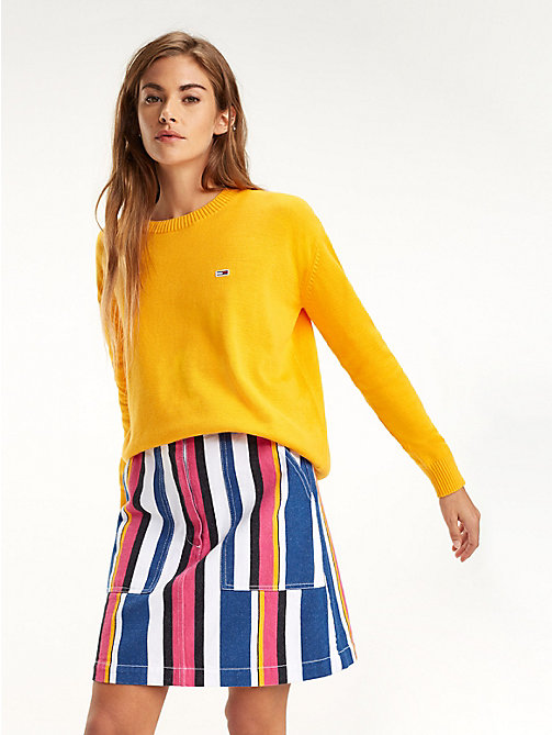 TOMMY JEANS Pull Tommy Classics col ras-du-cou - RADIANT YELLOW - TOMMY JEANS Sustainable Evolution - image principale