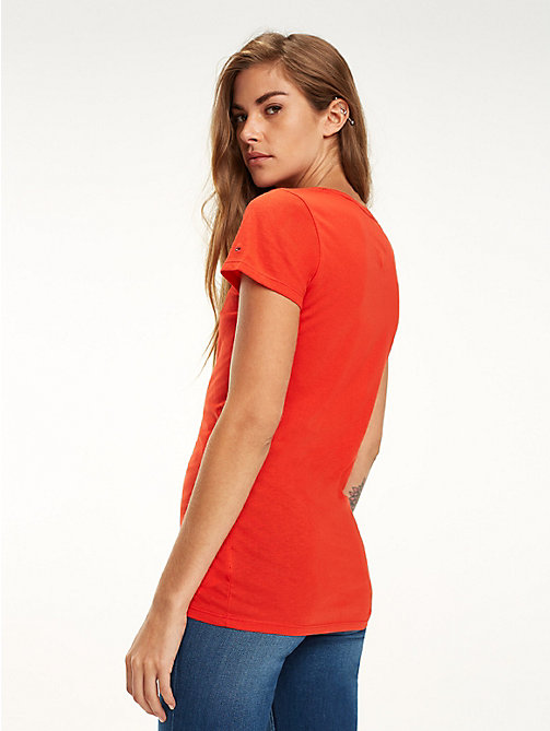 TOMMY JEANS Slim fit 1985 T-shirt - FLAME SCARLET - TOMMY JEANS Tops - detail image 1