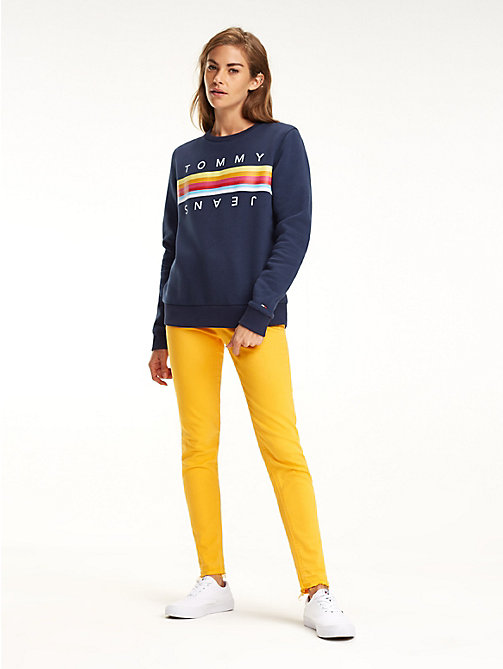 TOMMY JEANS Colour-blocked sweatshirt met strepen - BLACK IRIS - TOMMY JEANS Sweatshirts & Hoodies - main image