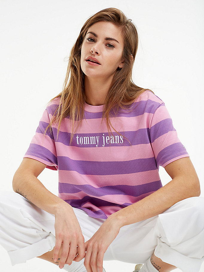 multicolour-stripe-cropped-t-shirt by tommy-jeans