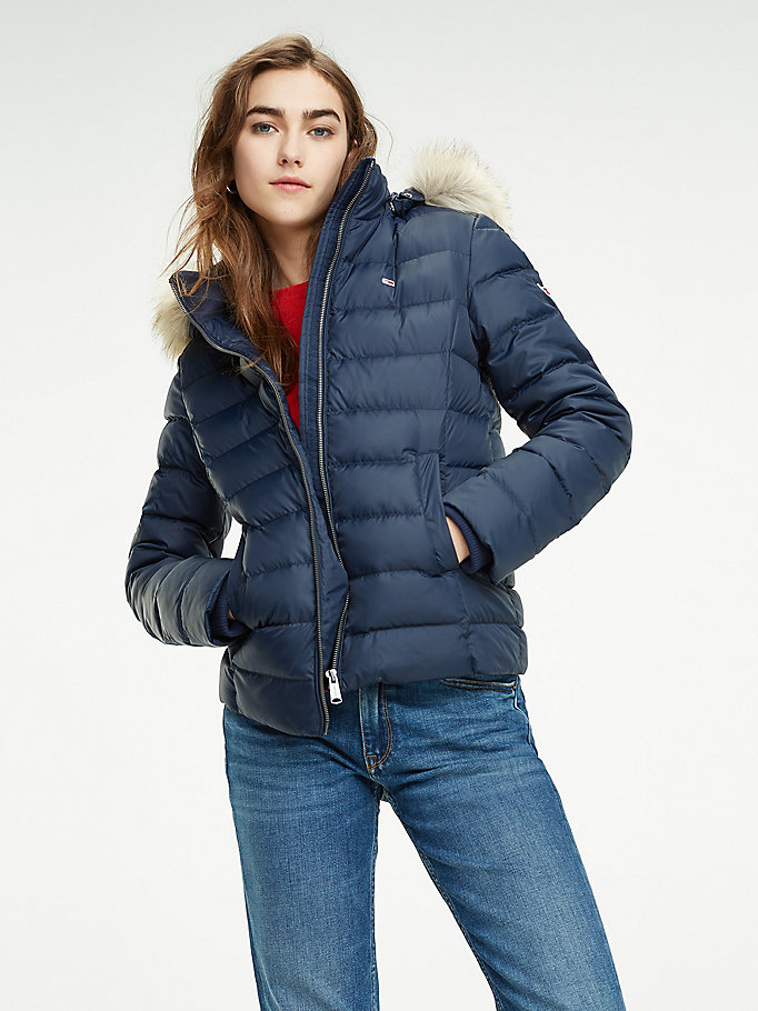 Essential Hooded Down Jacket | BLUE | Tommy Hilfiger