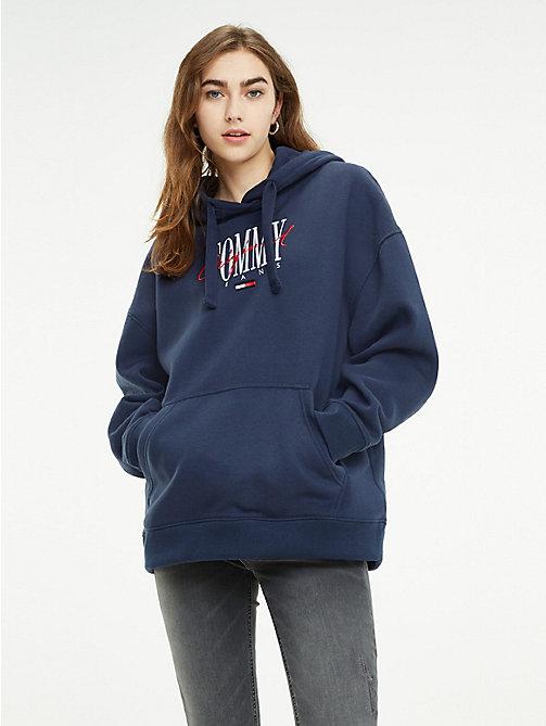 4134f100629d9e blue oversize-hoodie mit logo und tunnelzug für damen - tommy jeans