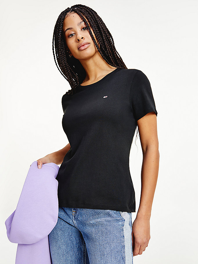 black soft jersey t-shirt for women tommy jeans