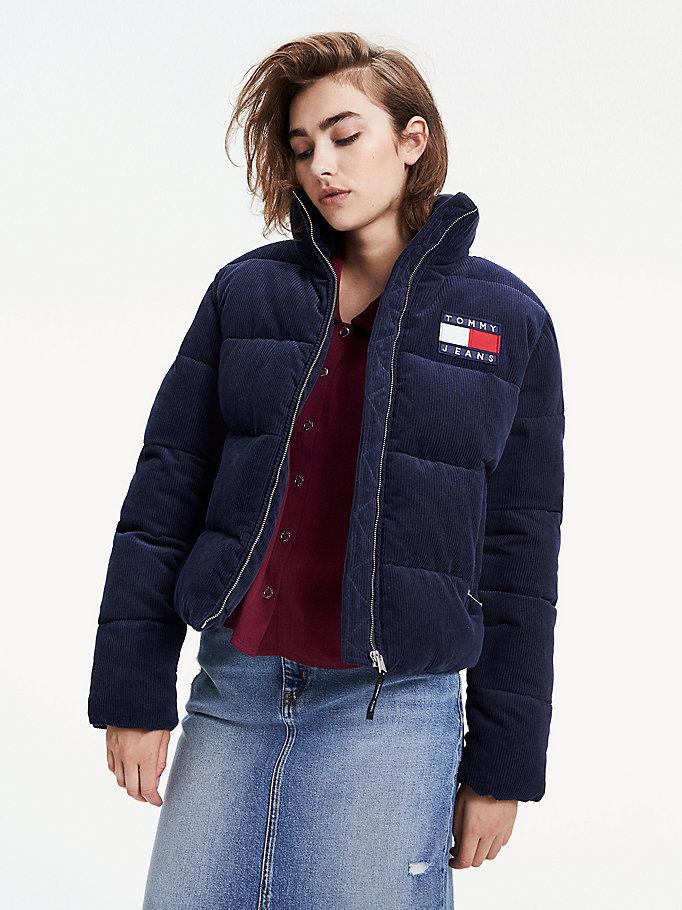 arrives cute cheap clearance sale Corduroy Puffer Jacket | BLUE | Tommy Hilfiger