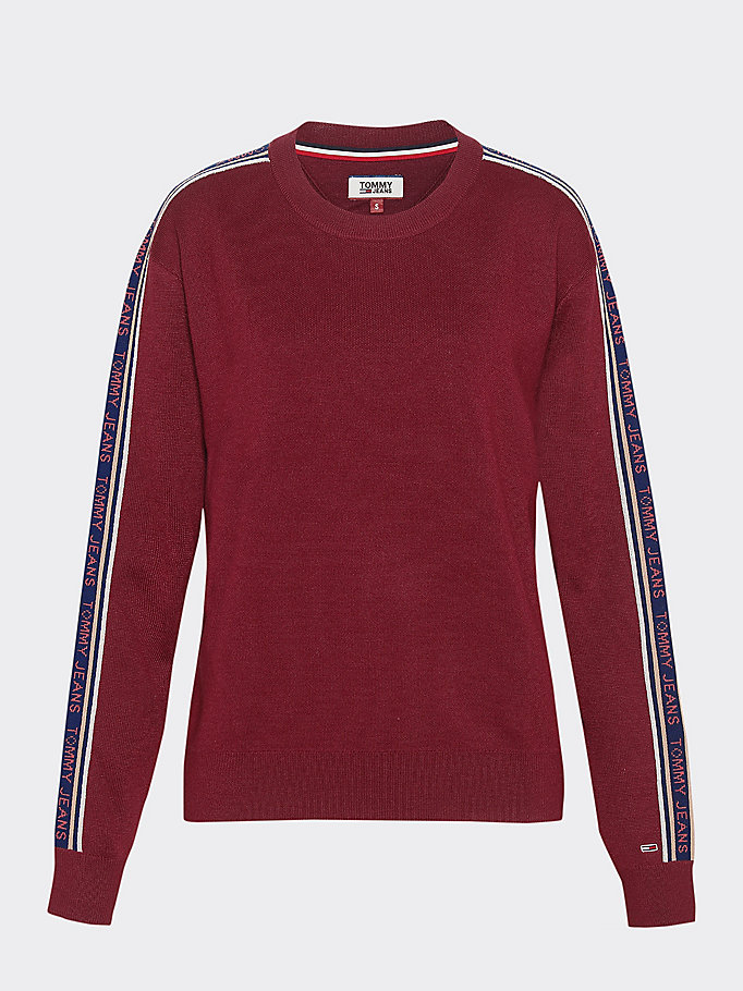 Tape Detail Crew Neck Jumper | PURPLE | Tommy Hilfiger