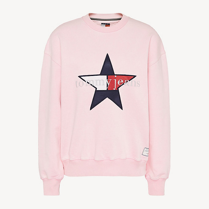 Felpa Tommy Jeans Summer Heritage con stella   PINK   Tommy