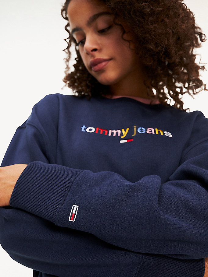 Relaxed fit sweatshirt met multicolour logo | BLUE | Tommy