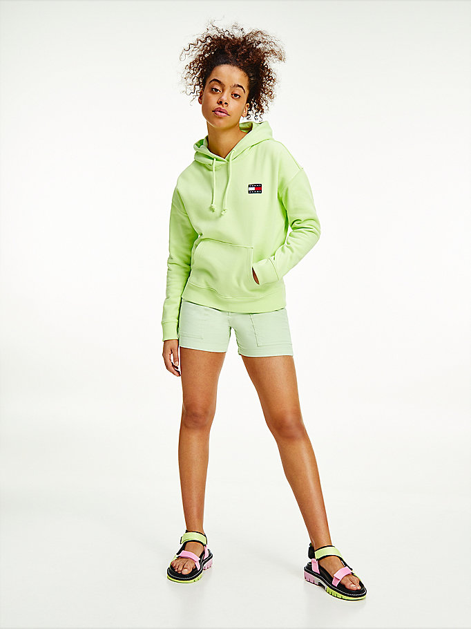 green tommy badge organic cotton hoody for women tommy jeans