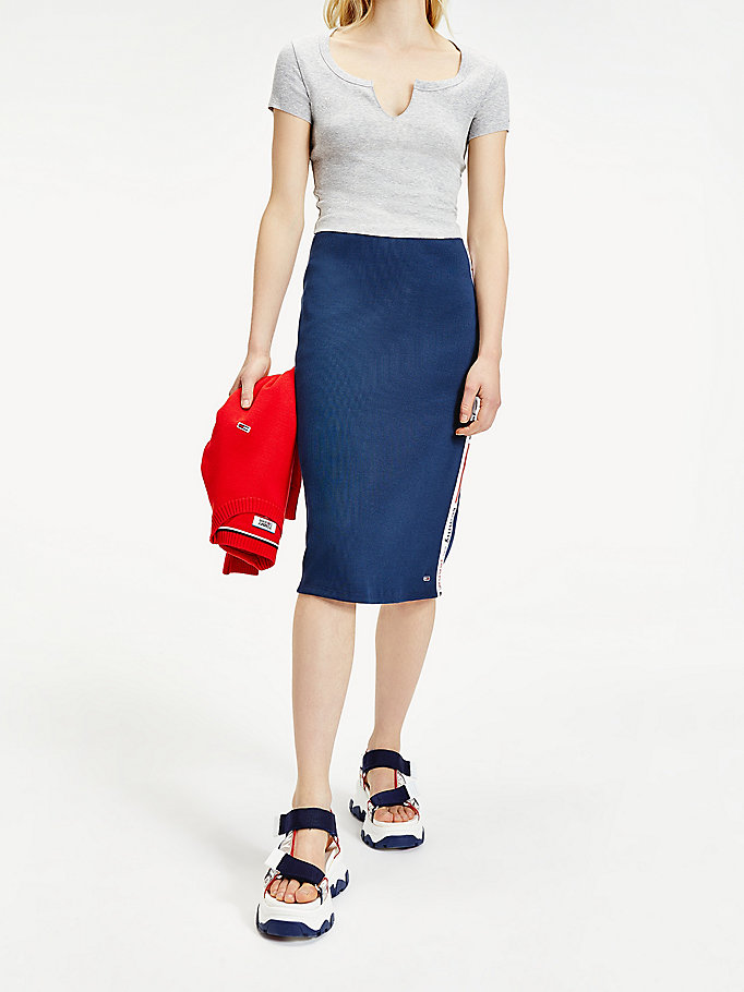 Logo Tape Fitted Midi Skirt | BLUE | Tommy Hilfiger