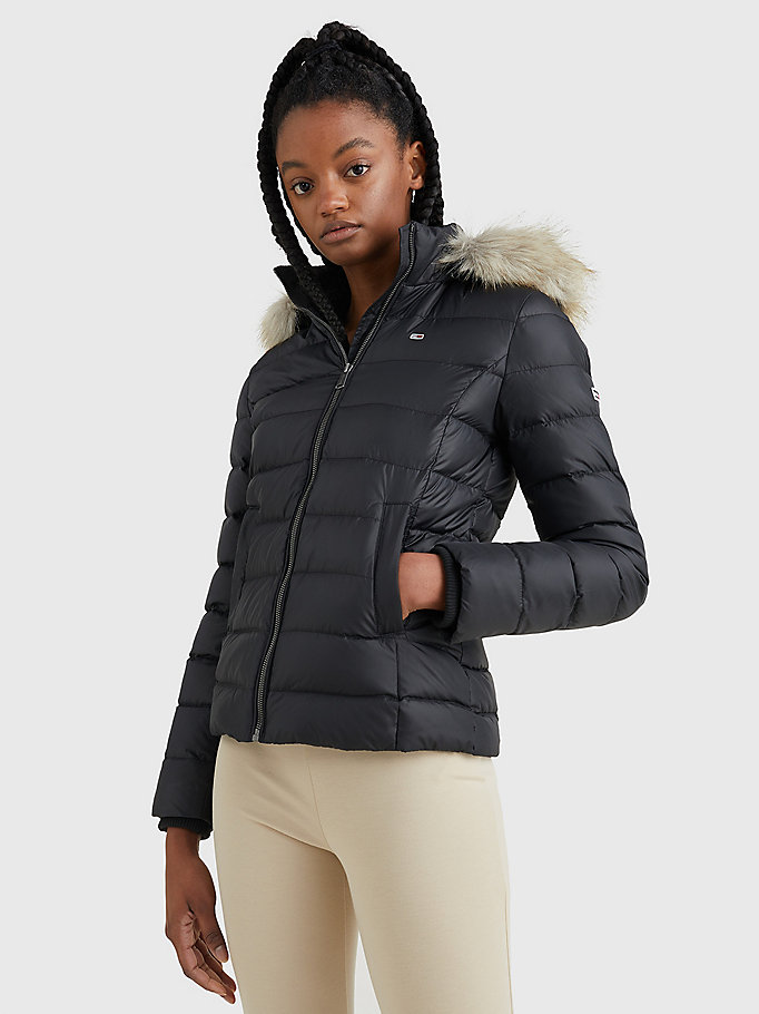 black hooded down jacket for women tommy jeans