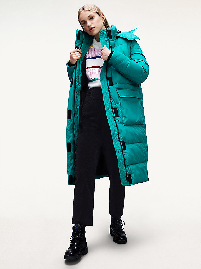 green oversized puffer coat for women tommy jeans