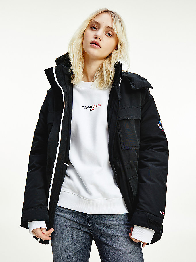 black down padded relaxed fit jacket for women tommy jeans