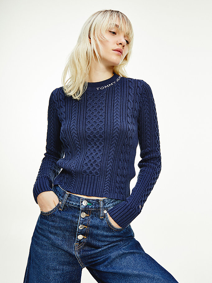 blue cable knit crew neck jumper for women tommy jeans