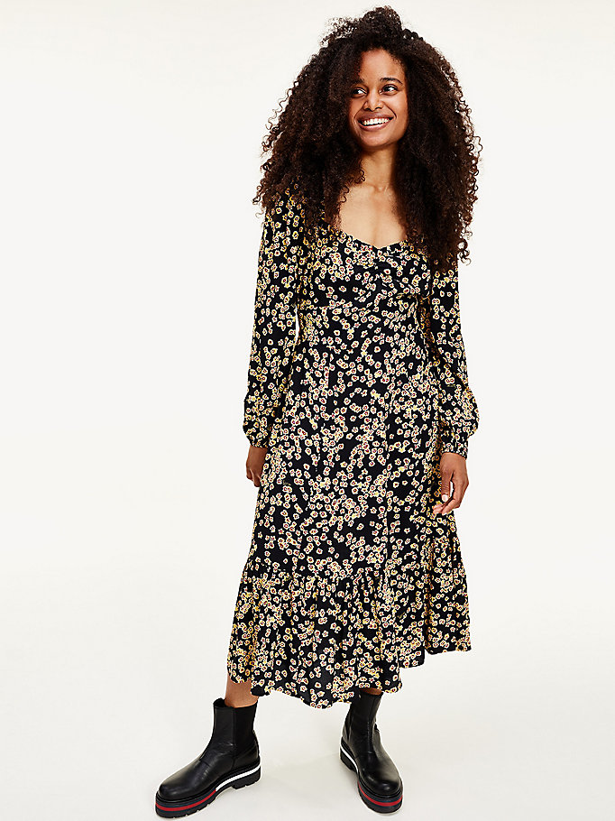 black floral print square neck dress for women tommy jeans