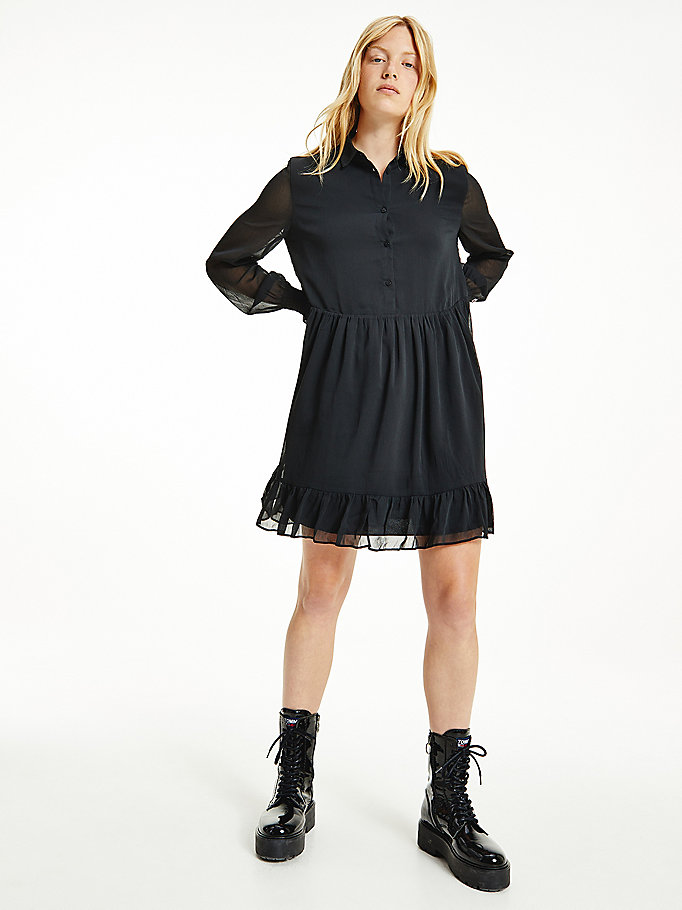 black tiered a-line dress for women tommy jeans