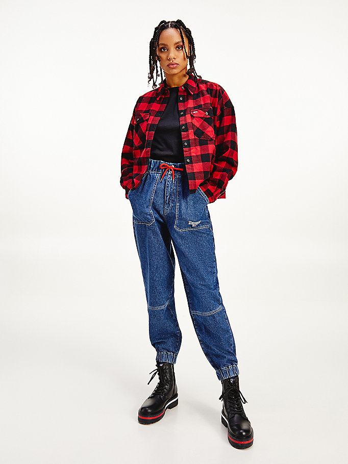 red gingham check shirt for women tommy jeans