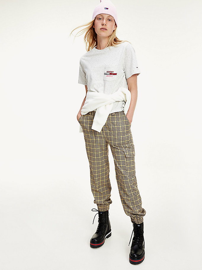 yellow check print relaxed fit cargo trousers for women tommy jeans