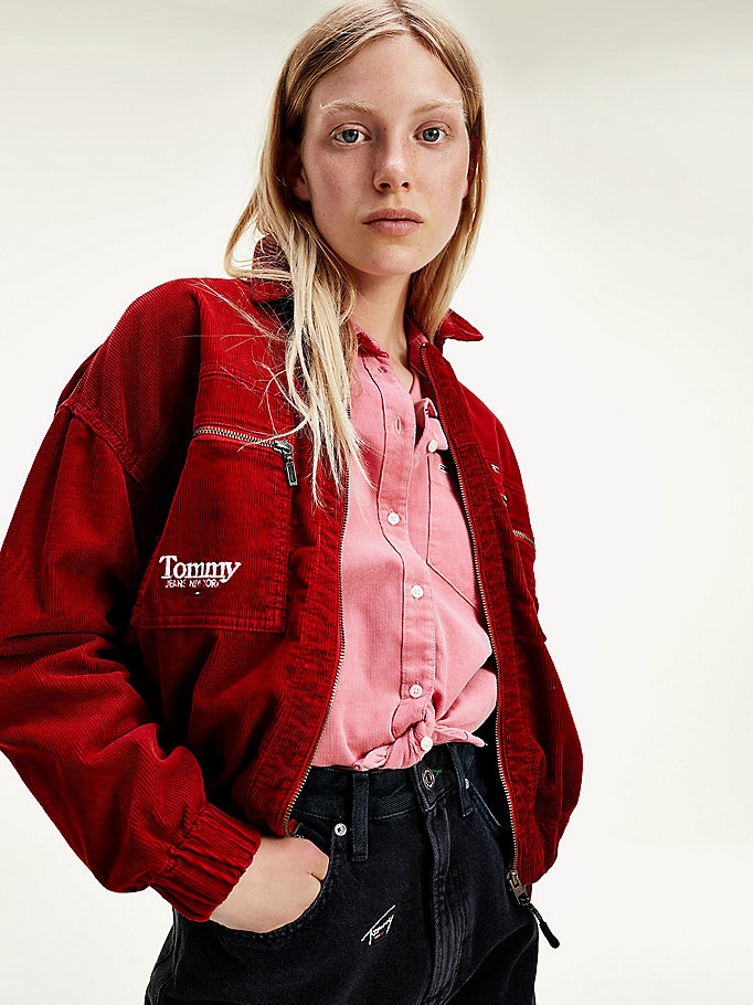 red corduroy cropped jacket for women tommy jeans