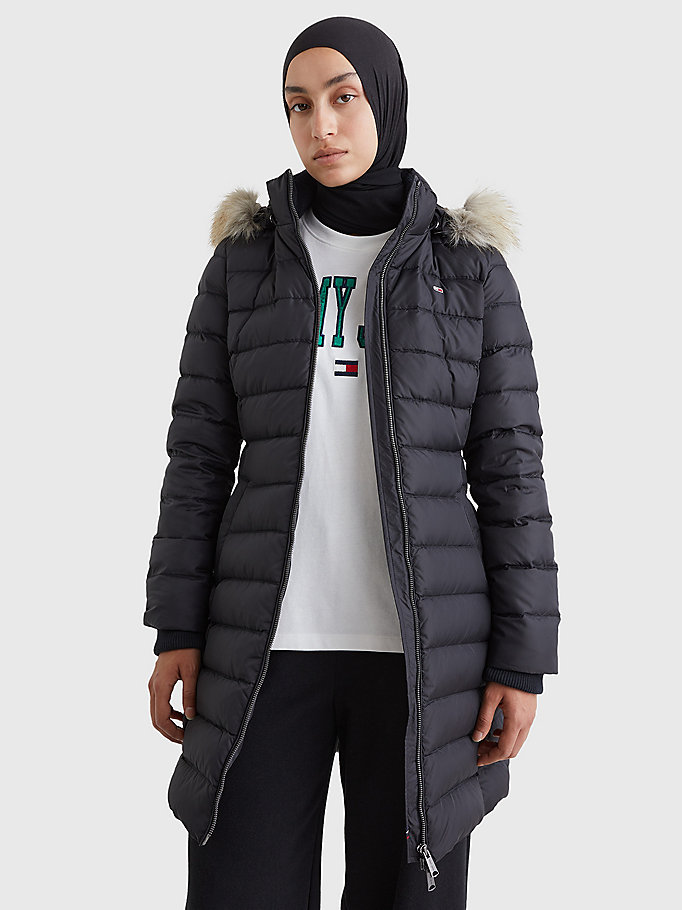 black essential faux fur hooded down coat for women tommy jeans