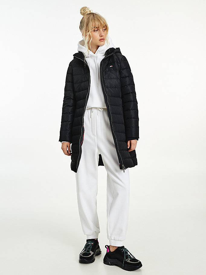 black quilted down coat for women tommy jeans