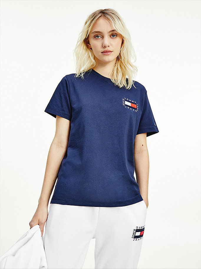blue box flag logo organic cotton t-shirt for women tommy jeans