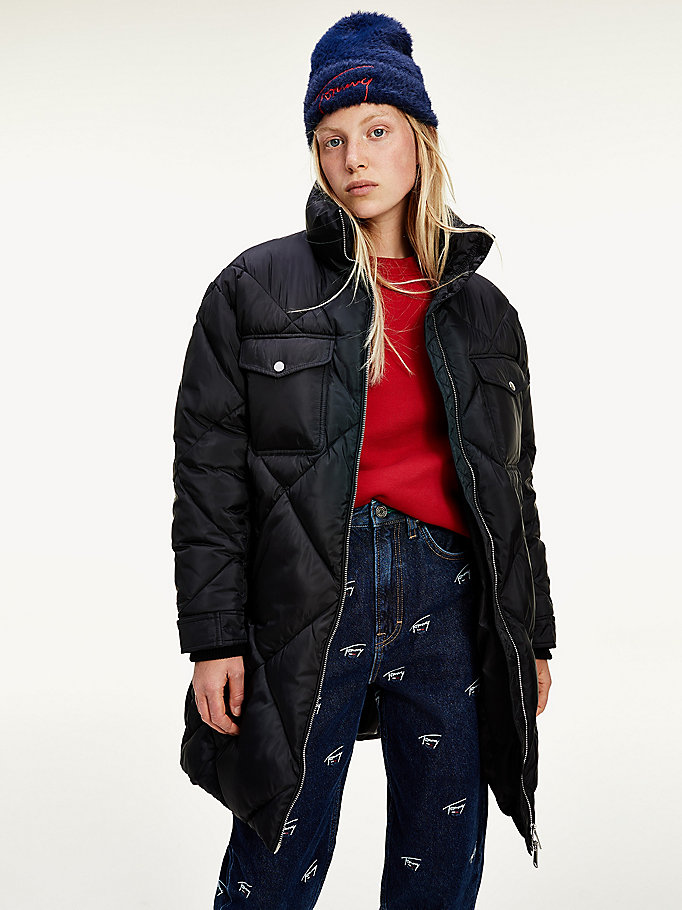 black diamond quilted taffeta coat for women tommy jeans