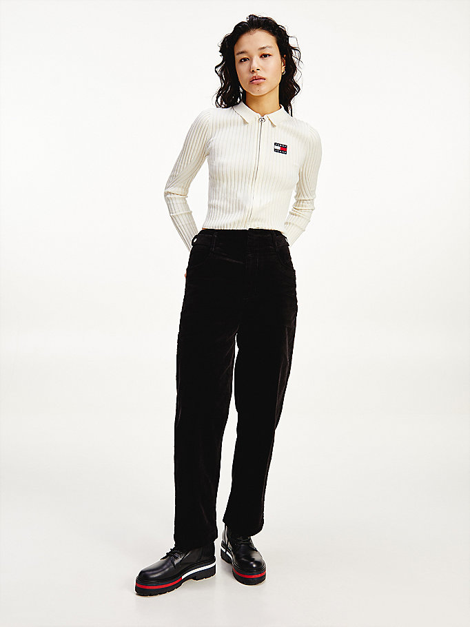 black stretch organic cotton corduroy trousers for women tommy jeans