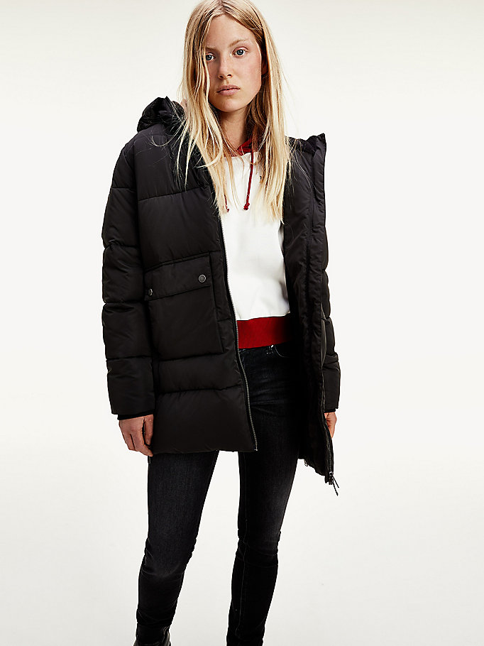 black hooded puffer parka for women tommy jeans