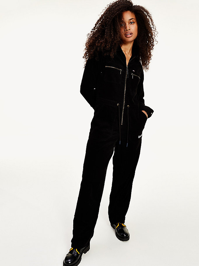 black corduroy boiler suit for women tommy jeans