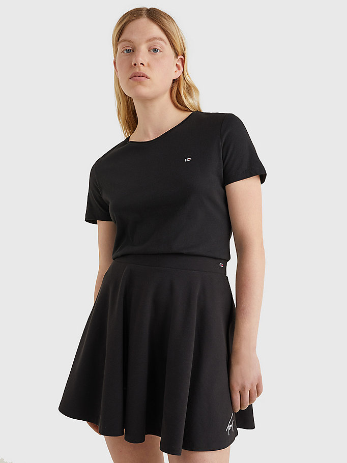 black organic cotton slim fit t-shirt for women tommy jeans