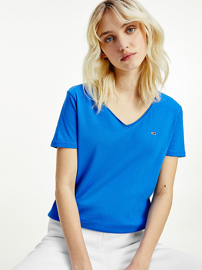 blue organic cotton v-neck slim fit t-shirt for women tommy jeans