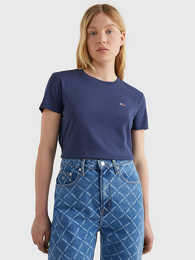 blue organic cotton crew neck t-shirt for women tommy jeans