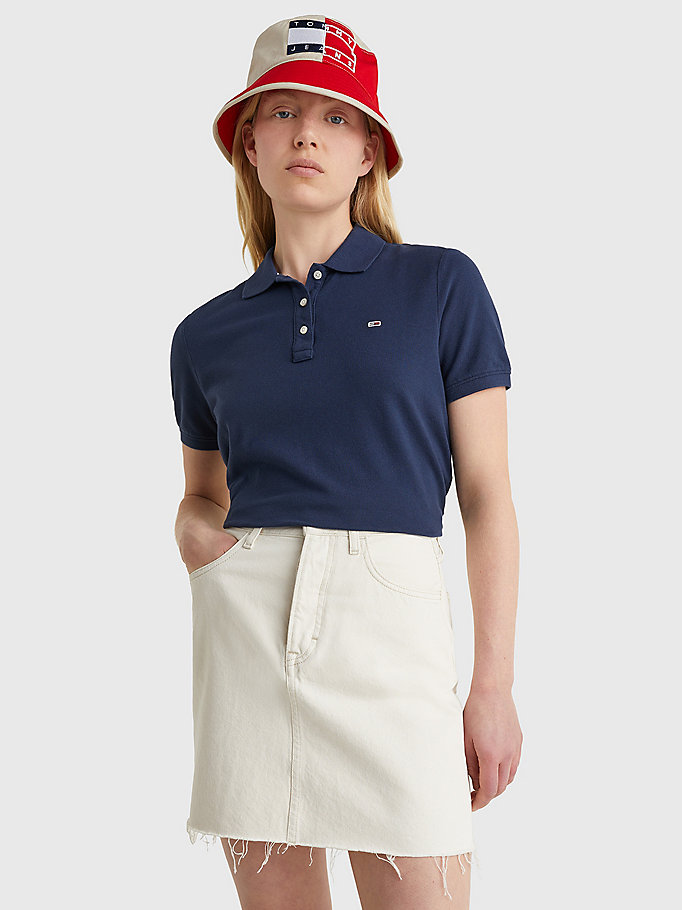 blue organic cotton slim fit polo for women tommy jeans