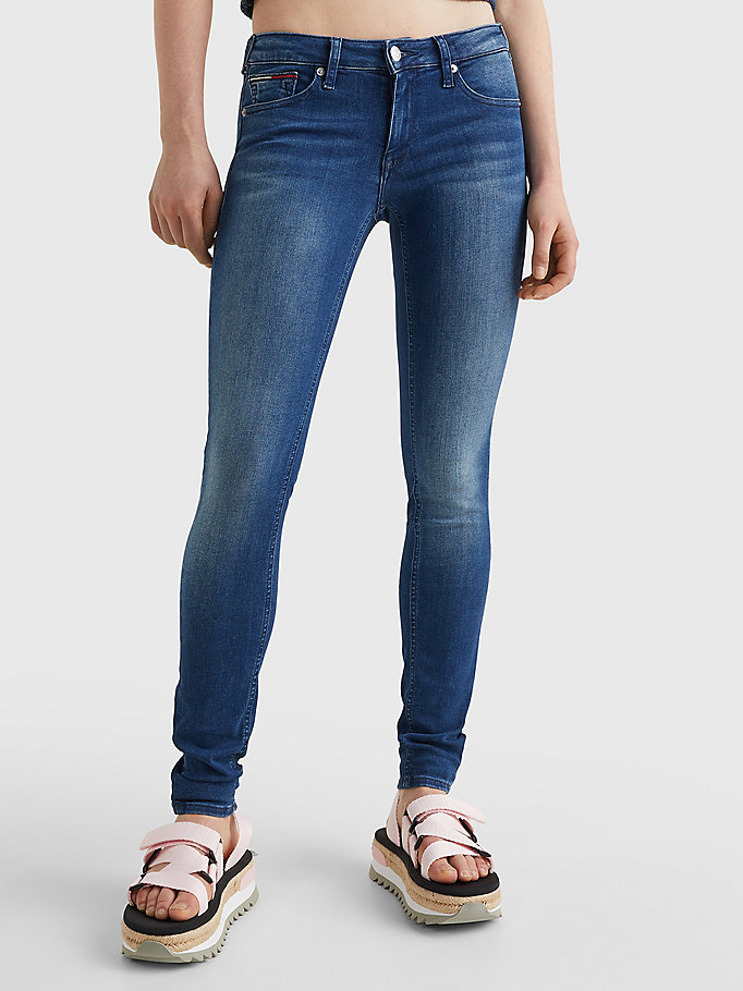 denim sophie low rise skinny faded jeans for women tommy jeans