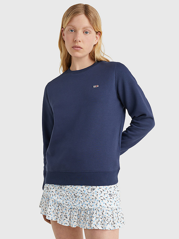 blue organic cotton regular fit fleece sweatshirt for women tommy jeans