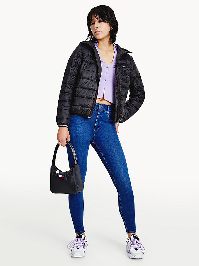 black relaxed fit quilted hooded jacket for women tommy jeans